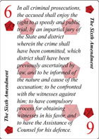 The Sixth Amendment of Declaration playing card replaces the Six of Diamonds playing card. It is also the Sixth Amendment to the Constitution in the Bill of Rights