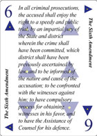 The Sixth Amendment of Faith playing card replaces the Six of Spades playing card. It is also the Sixth Amendment to the Constitution in the Bill of Rights