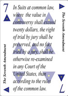 The Sixth Amendment of Revolution playing card replaces the Six of Hearts playing card. It is also the Sixth Amendment to the Constitution in the Bill of Rights